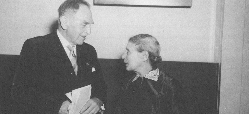 Lise Meitner und Otto Hahn am 14.3.1959 bei der Einweihung des HMI.